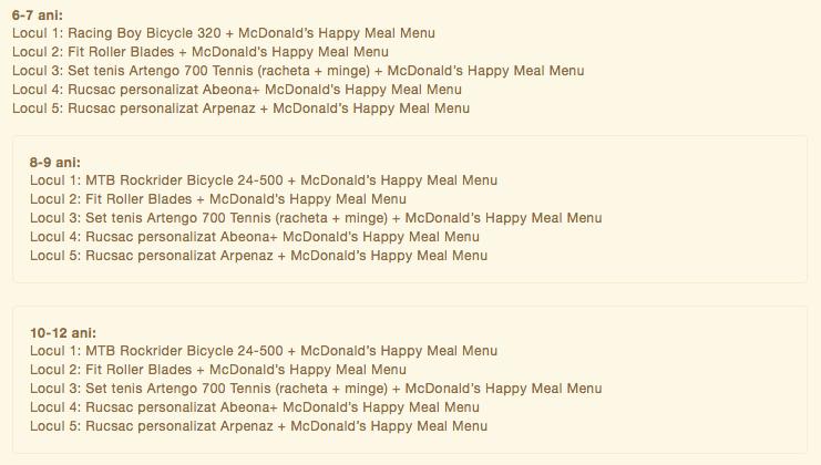 Cursa Copiilor cu premii junk food de la McDonalds.